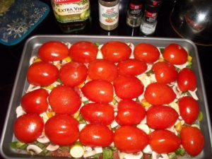 Tomatoes ready for roasting.