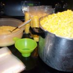 Large kettle of corn, ready for packaging for the freezer.